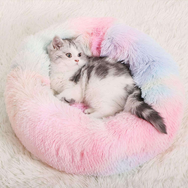 Haieshop Pet Bed New Super Soft Bed Round Washable Long Plush Kennel Cat House Velvet Mats Sofa for Basket Pet Bed Cat Beds & Mats (Color : 7, Size : 80cm)