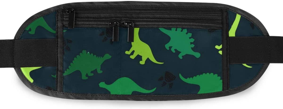 SLHFPX Green Animal Dinosaur Hidden Money Belt,Fanny Pack,Running Belt,Travel Wallet Pouch,Wasit Packs Bag,Passport Holder,Bum Bag,Belt Bags for Women Men