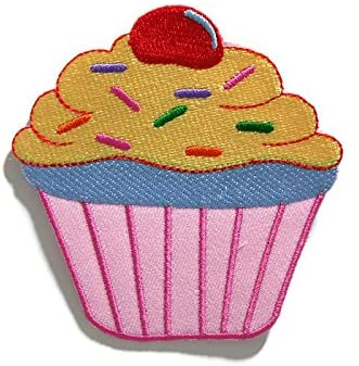 Pink Cup Cake Cute Bakery DIY Embroidered Sew Iron on Patch