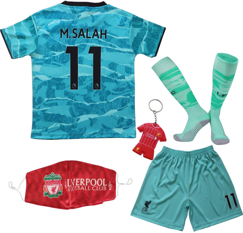 Necm 2020/2021 Liverpool Away #11 Mo Salah Soccer Kids Jersey Shorts Socks Set Youth Sizes