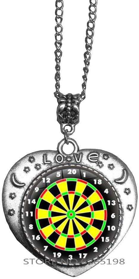 Darts Necklace Dart Board Pendant Dart Jewelry Sport Jewelry Dartboard Necklace Birthday Gift Dart Target Necklace Dart Board Jewelry,N385