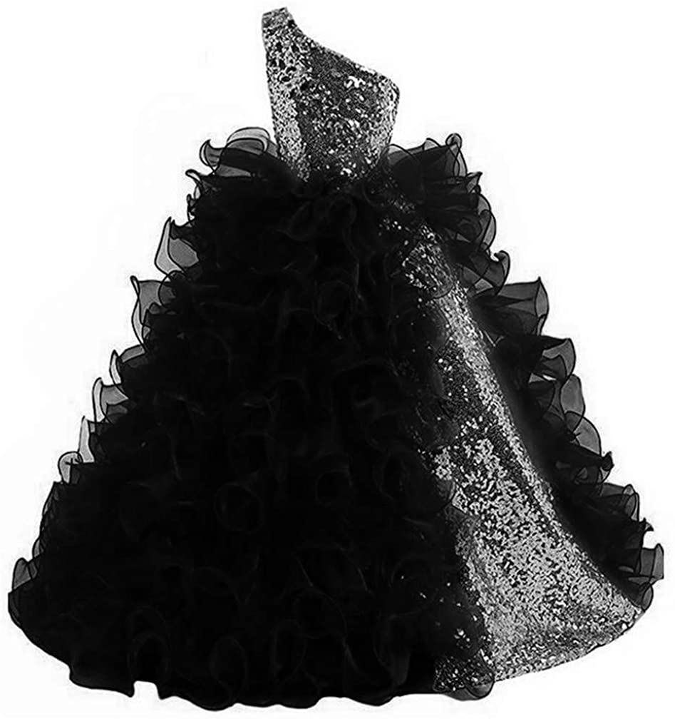 VeraQueen Girl's Sequins One Shoulder Pageant Dresses Detachable Ruffled Organza Princess Gown Flower Girl Dresses