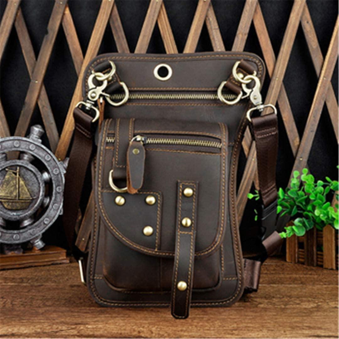 DiaoPiou Men Leather Waist Bag Genuine Leather Fanny Packs Motorcycle Leg Bag Belt Pouch Shoulder Messenger Hook Bag