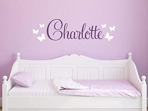 CECILIAPATER Butterfly Name Decal - Girls Name Wall Decal - Butterfly Decals for Walls - Unique Gift - Wall Decal Removable Nursery Decor for Girls