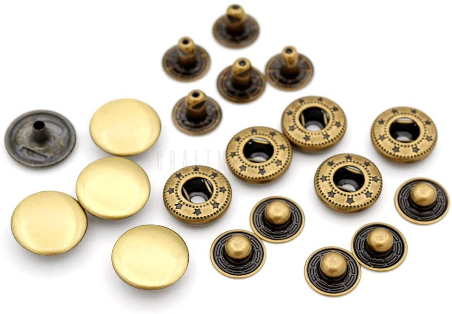 CRAFTMEMORE Snap Fasteners Color Plated Solid Brass Metal Snaps Heavy Duty Press Stud S-Spring Poppers Button #831 Pack of 10 (15 mm, Brushed Brass)