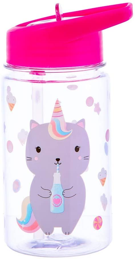 Sass & Belle Caticorn Flip Top Dishwasher Safe Water Bottle, Clear