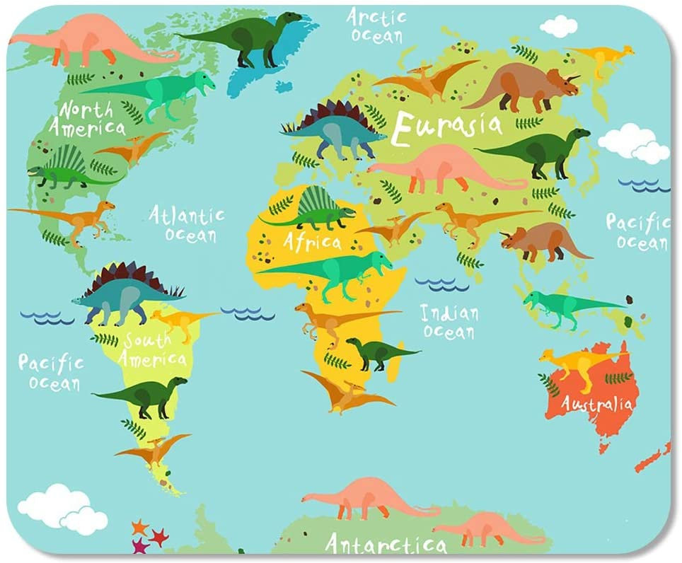 Suike Mousepad Computer Notepad Office Skeleton Dinosaurs Map of The World for Children Home School Game Player Computer Worker 9.5x7.9 Inch