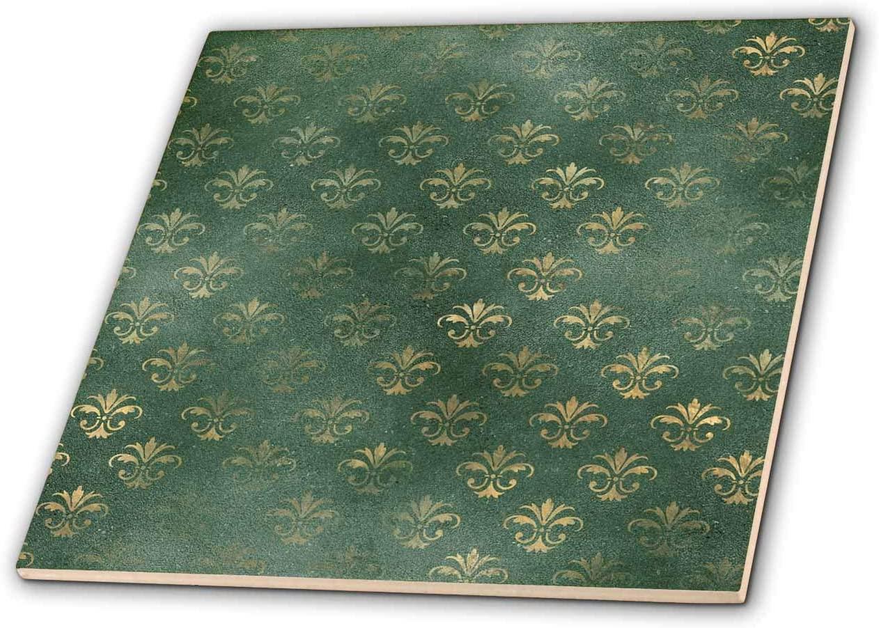 3dRose Image Of Gold Ornamental Fleur De Lis On Green Pattern - Tiles (ct_326585_4)