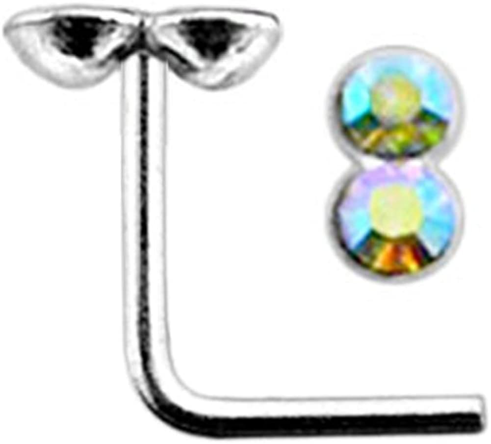 AtoZ Piercing Rainbow Double Round Gemstone Top 22 Gauge Silver L Shape - L Bend Nose Stud Nose Pin