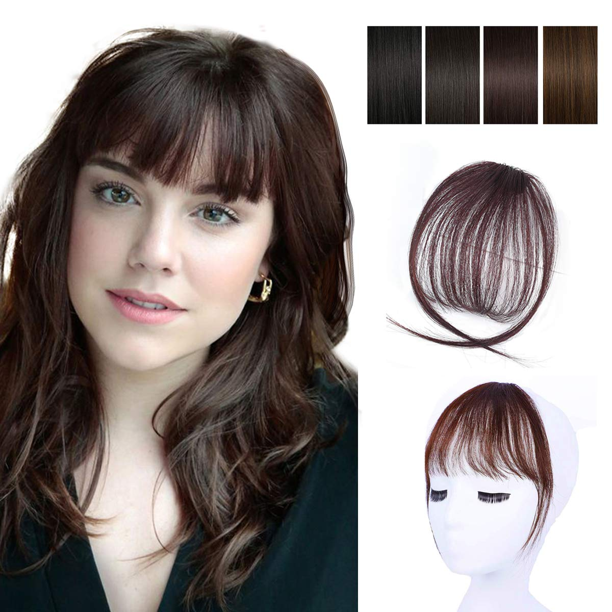 Clip in Bangs 100% Human Hair Air Bangs Extensions Front Fringe Bangs One Piece Hairpiece with Hand Made Tied Bangs for Women (Dark Brown)