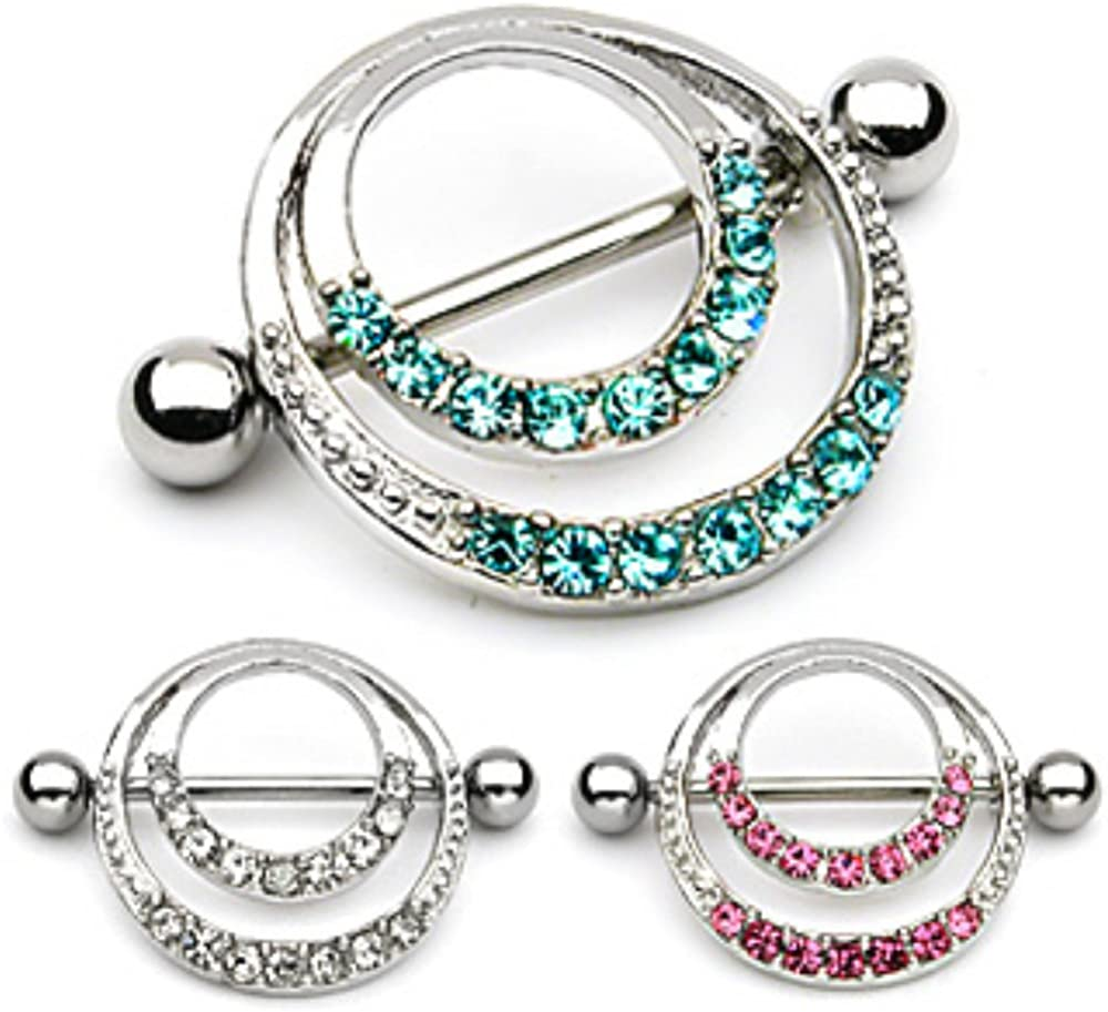Romantic Style WildKlass Nipple Shield w. Double Hoops & Pave Gems (Sold by Piece)