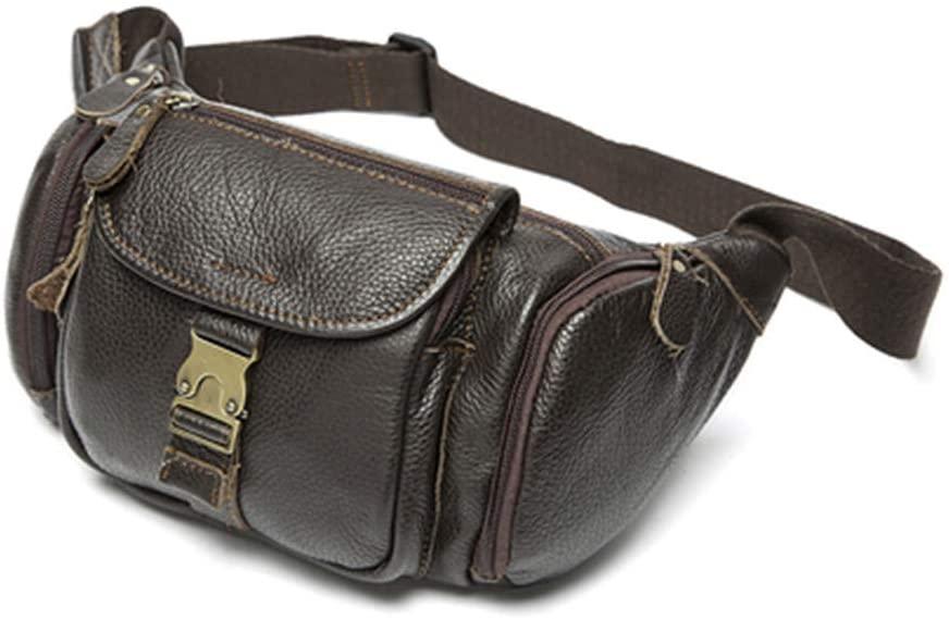 DiaoPiou Men's Waist Packs Genuine Leather Fanny Belt Bag Cowhide Travel Phone Pouch Male Chest Bags Wallet Purse