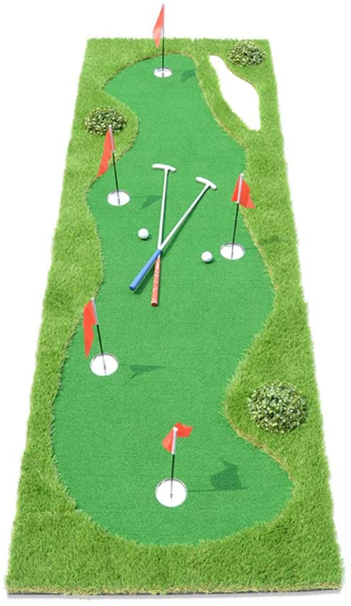 Professional Golf Practice Training Aid Equipment,Mini Putting Green Mat Indoor,Portable Golf Putting Green with 5 Holes A 100x305cm(39x120inch)