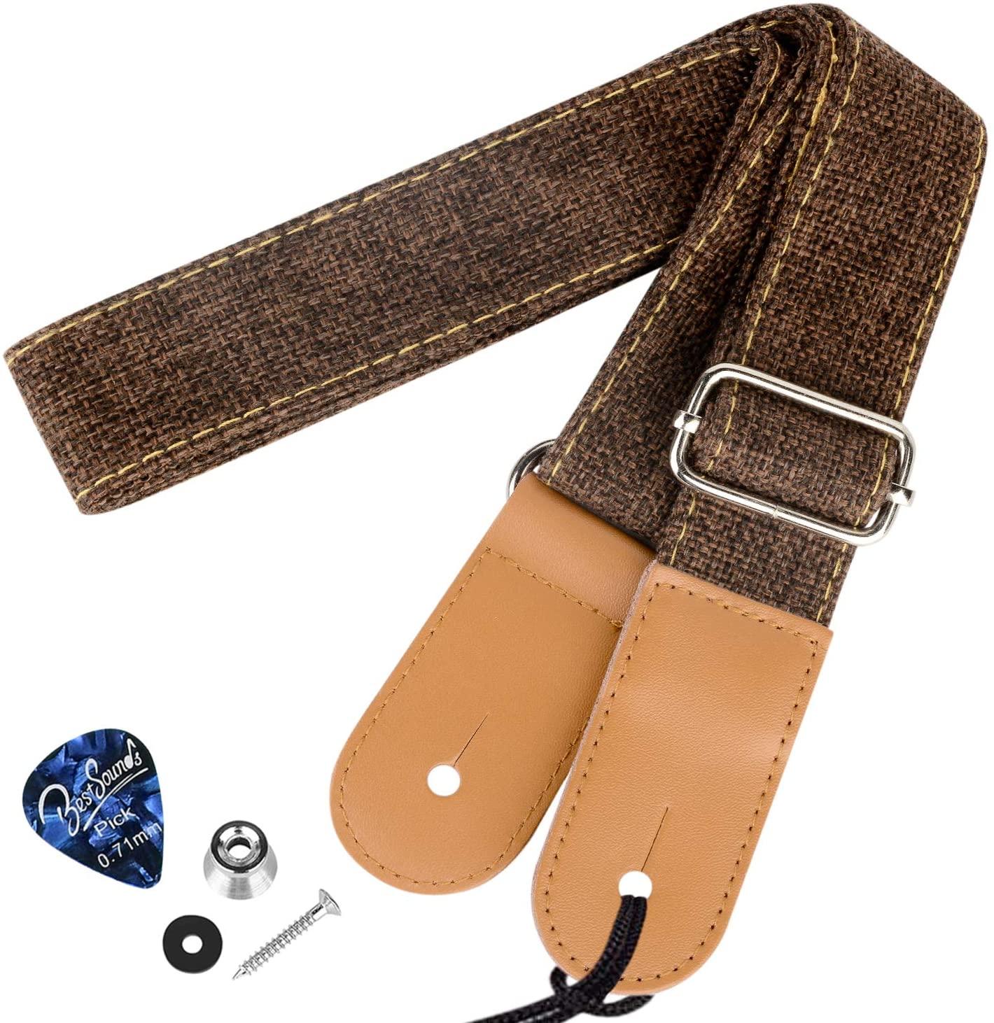 Dulphee Ukulele Strap with 1 Pick & 1 Button, Cotton Linen Adjustable Uke Shoulder Strap for Soprano Concert Tenor Baritone Ukulele, Banjo and Mandolin (Coffee)