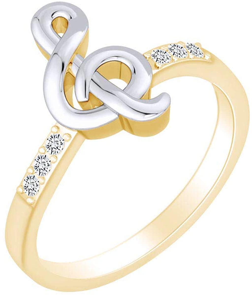 0.11 Carat (Cttw) Round White Natural Diamond Musical Note Two Tone Ring