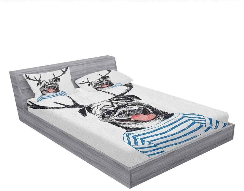 LCGGDB Pug Fitted Sheet & Pillow Sham Set,Hipster Dog with Antlers Hand Drawn Surreal Funny Illustration Happy Pug Image Decorative Printed 3 Piece Bedding Decor Set,Full Size,Black Blue White