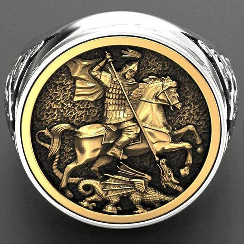 QAZXCV Unisex Vintage Sovereign Ring Men St George Portrait Gold Roman Cavalry Dragon Rings for Women Boho Nordic Mythology Viking Jewelry,9