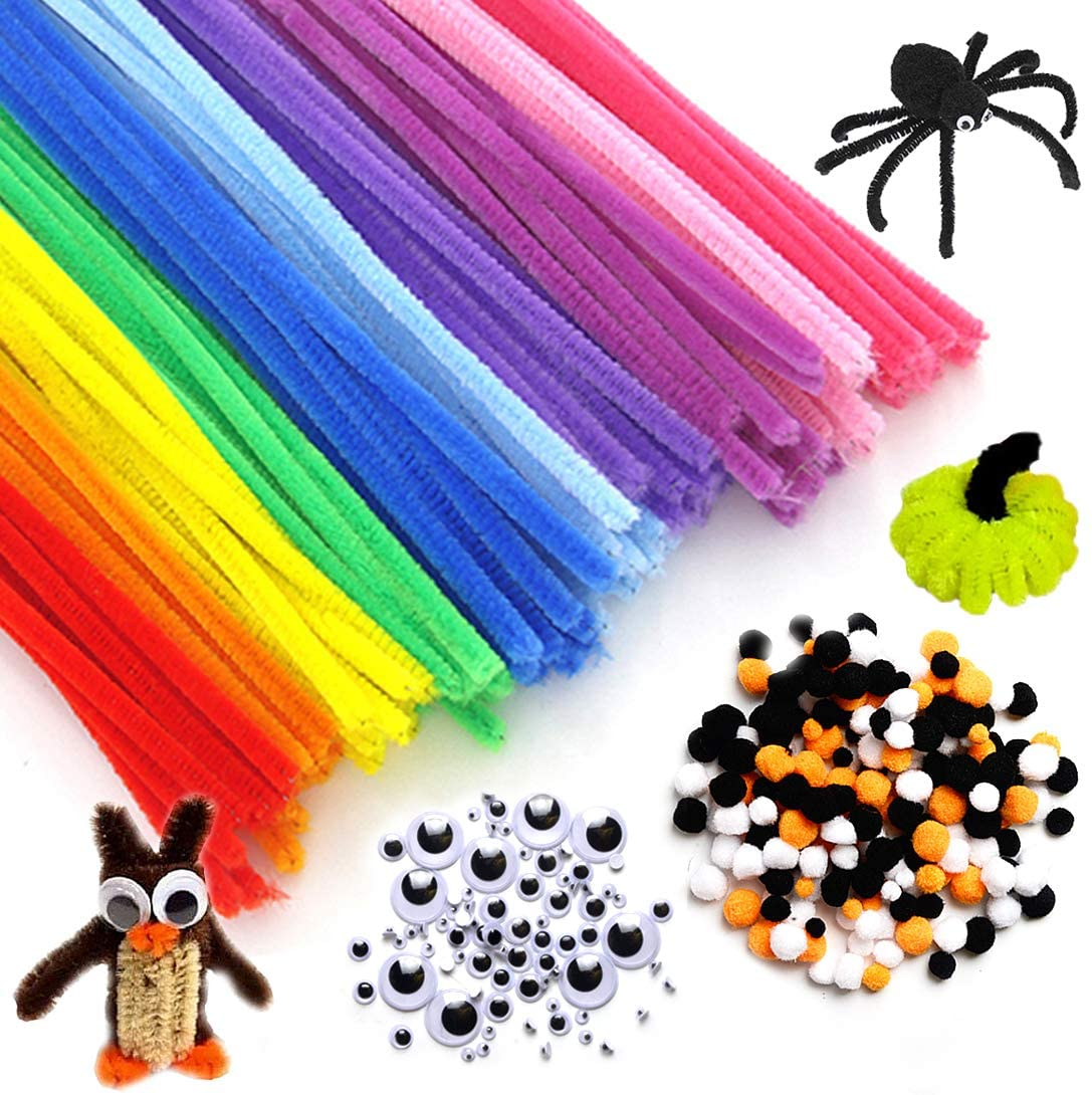 770 Pcs Halloween Pipe Cleaners Craft Set Include 320Pcs 8 Colors Chenille Stems, Including 350 Pcs 3 Size 3 Colors Pom Poms and 100Pcs 4 Size Wiggle Eyes for Halloween Party Favors