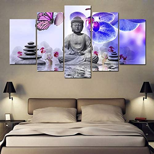 HIOJDWA 5 Piece Printed Canvas Buddha Meditation Stone Orchid Zen Flowers Abstract Painting Room Decor Print Poster Framed Wall Art