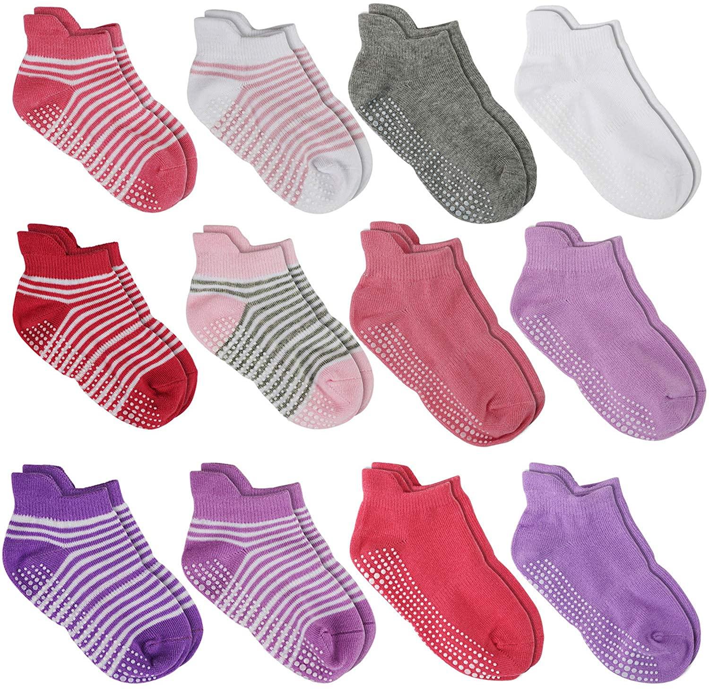 Aminson Anti Slip Non SkidAnkle Socks With Grips for Baby Toddler Kids Boys Girls