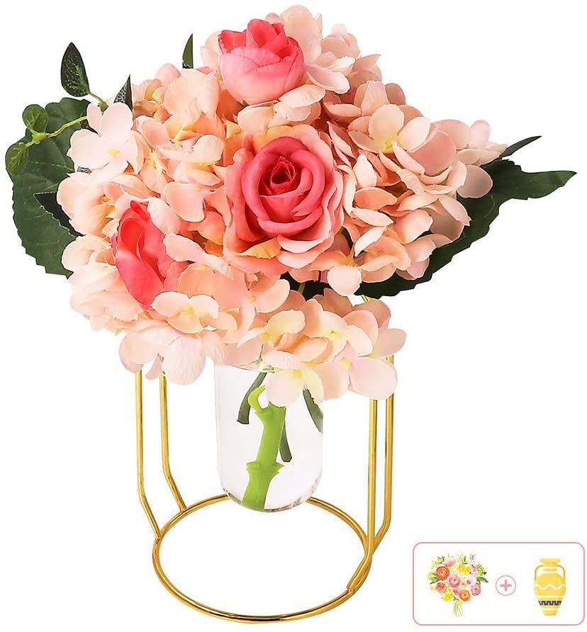 AceList Artificial Silk Pink Flower Arrangement Fake Plastic Plant Bouquet Faux Peony Hydrangea with Vase Realistic Flowers for Bridal Wedding Home Party Festival Decor Table Centerpieces (Vase Set)
