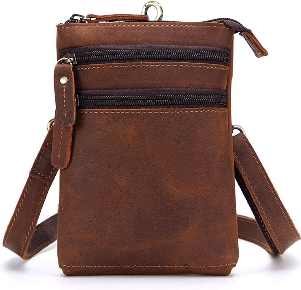 Genuine Leather Phone Bag for Men Fanny Purse Hip Bum Pack Hook Waist Belt Pouch