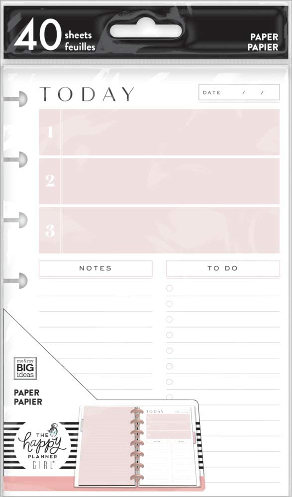 The Happy Planner Daily Schedule Mini Filler Paper - Journaling & Planner Accessories - Minimalist Theme - Daily Schedule, to-Do Lists & Lined Paper - 40 Sheets