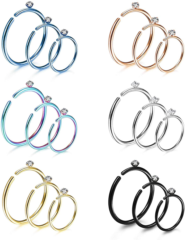 MJ 18pcs Nose Ring Hoop 2mm Cubic Zirconia Nose Rings 316L Stainless Steel Cartilage Hoop Tragus Helix Septum Lip Ring Hoops Piercing 6-10mm