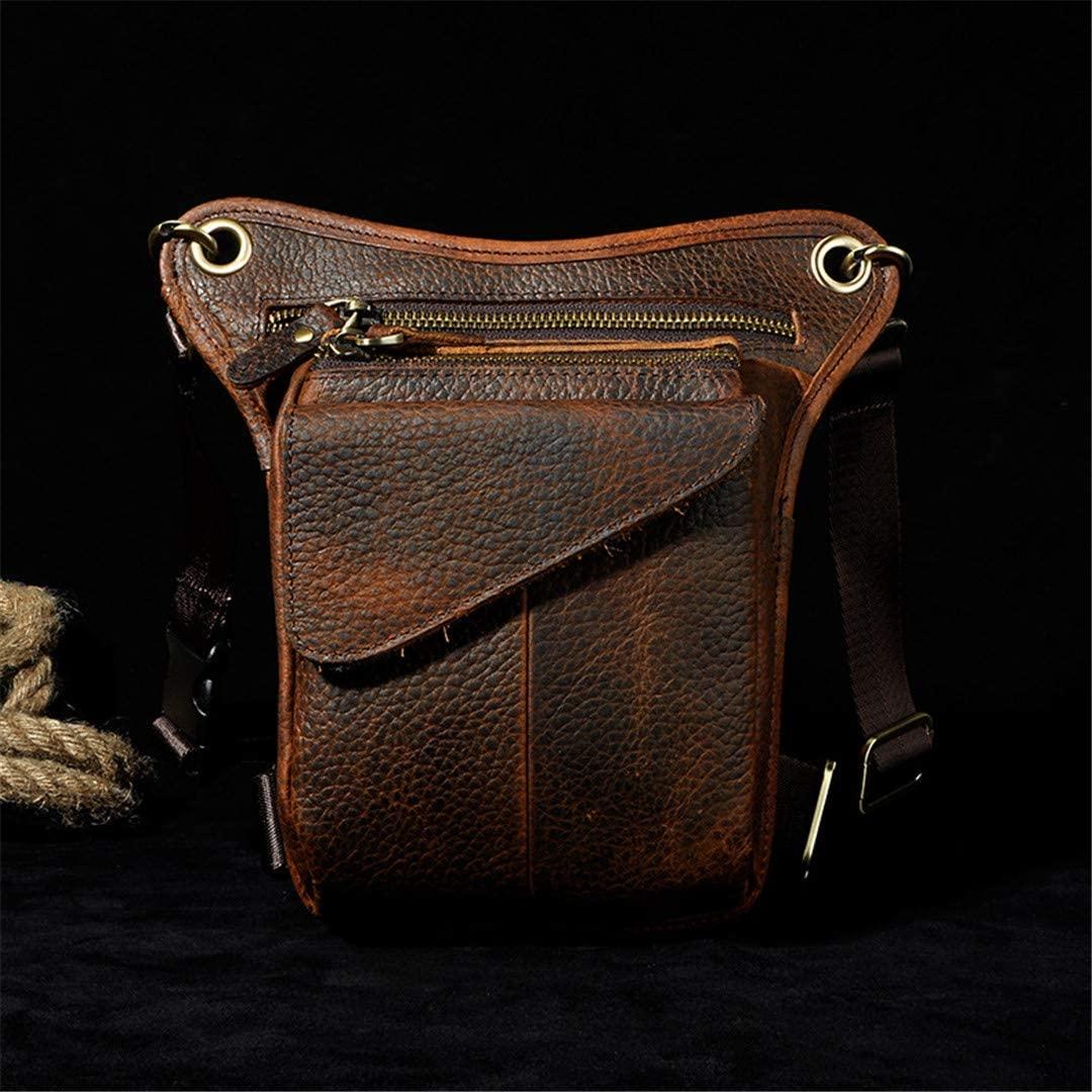 DiaoPiou Men's Genuine Leather Messenger Shoulder Bag Travel Motorcycle Riding Fanny Pack Cowhide Waist T DOP Leg Bag