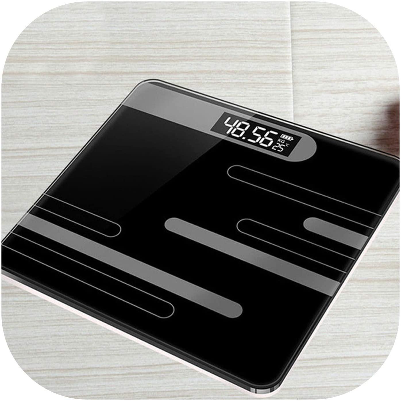 180kg Bathroom Glass Smart Electronic Scales USB Charging,Black