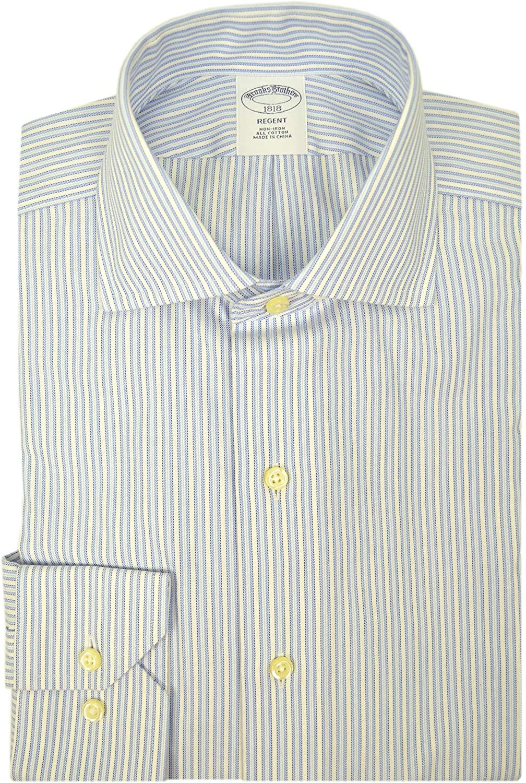 Brooks Brothers Mens Regent Fit Premium Non Iron 100% Cotton Dress Shirt White Multi Blue Striped