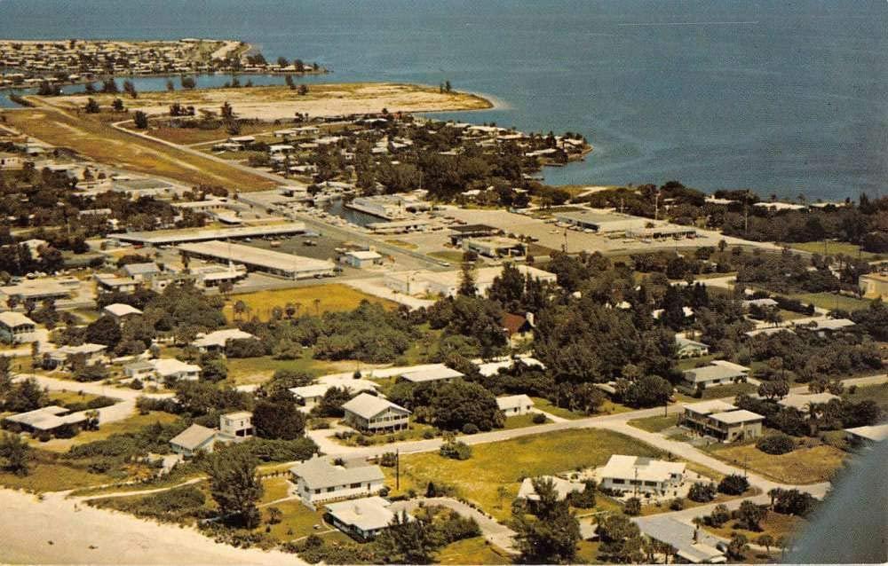 Holmes Beach Florida Shopping Center Birdseye View Vintage Postcard KK1754