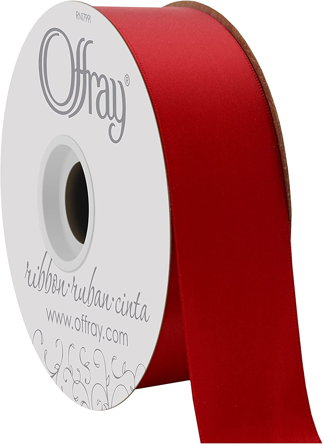 Offray 1.5 Wide Double Face Satin Ribbon Red50Yds, 50 Yards, Red