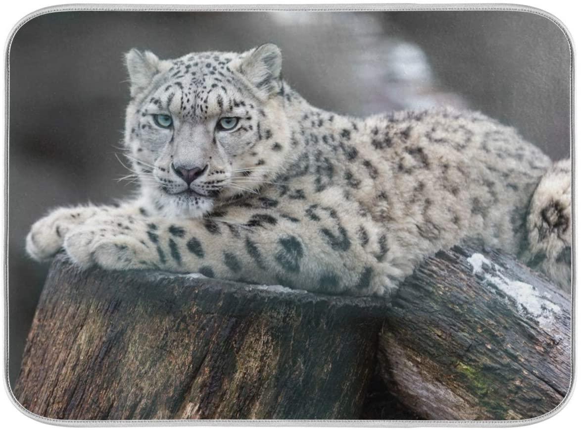 18x24 Inch XL Absorbent Microfiber DishDryingMatsforKitchenCounter Sinks with Hanging Loop - Animla Lovely Snow Leopard