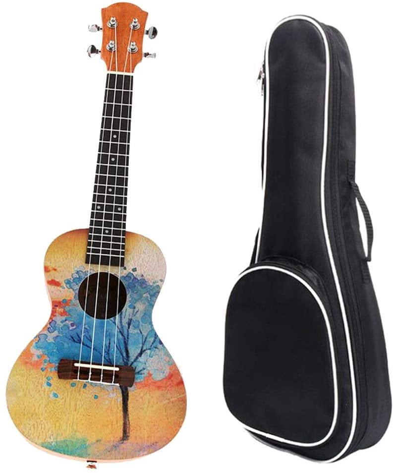 Ukulele, Mahogany Wood Traditional 23 Inches Concert Ukulele Colorful Painting Uke Hawaii Kids Small Guitar With Gig Bag For Kids Students Beginners Musical Instrument Gifts ,for Concert/Beginners