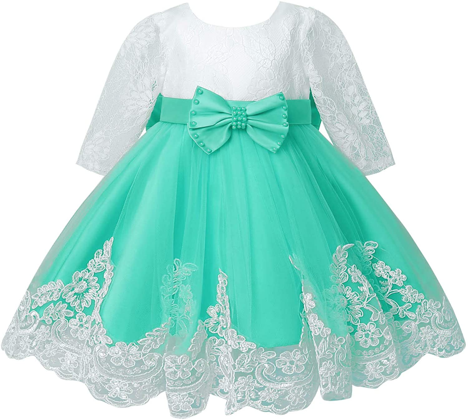 YiZYiF Princess Flower Dress Lace Long Sleeve Wedding Birthday Party Ball Gown for Infant Baby Girls