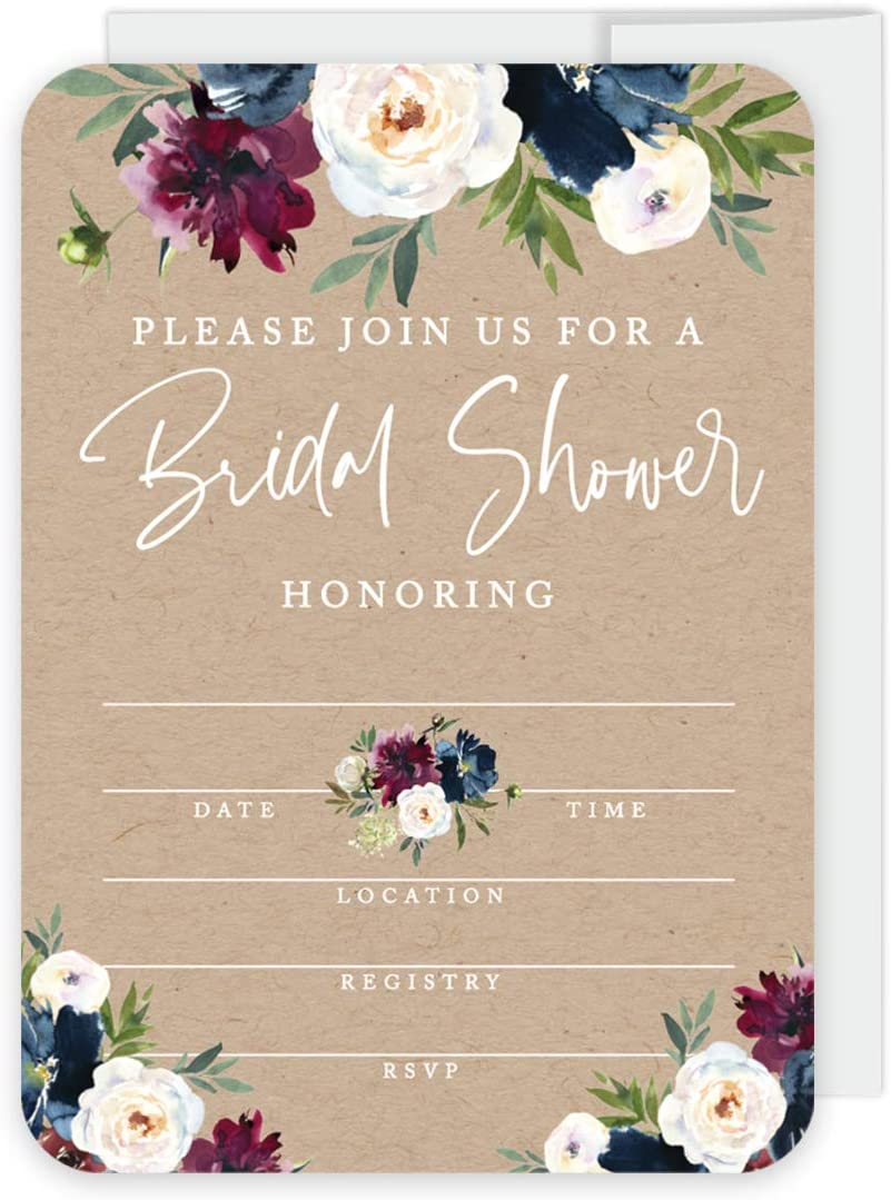 Andaz Press Kraft Brown with Burgundy Midnight Blue Florals Fall Wedding Party Collection, Blank Invitations with Envelopes, Please Join Us for a Bridal Shower, Floral Bouquet Graphic, 20-Pack