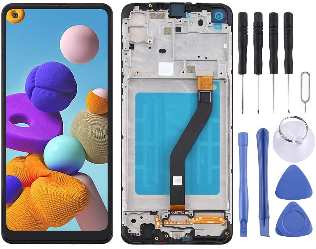 LIUJUN Phone Accessiories LCD Screen and Digitizer Full Assembly with Frame for Samsung Galaxy A21 / SM-A215 Spare Parts (Color : Black)