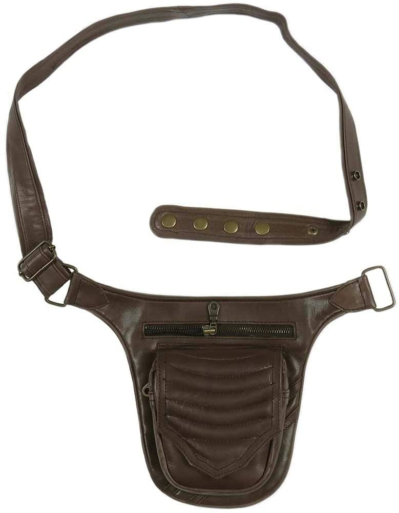 Eyes of India - Black or Brown Leather Belt Bum Hip Waist Pouch Bag Utility Fanny Pack Pocket Travel