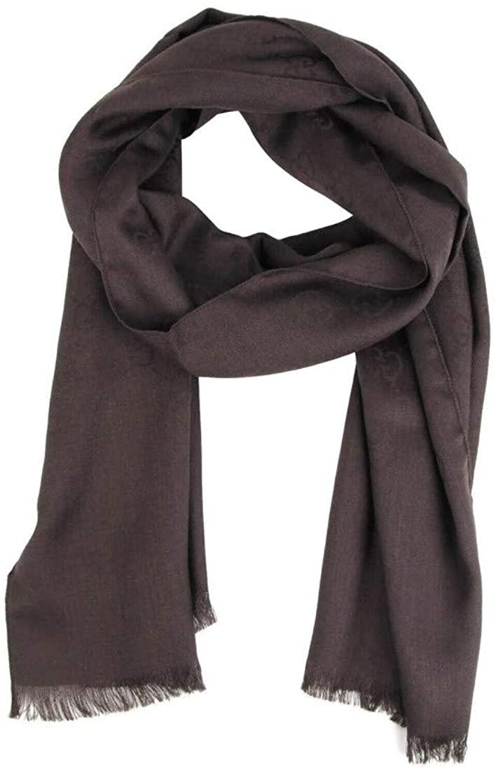 Gucci Unisex Coffee Brown Wool/Silk GG Print Scarf 165904 2000
