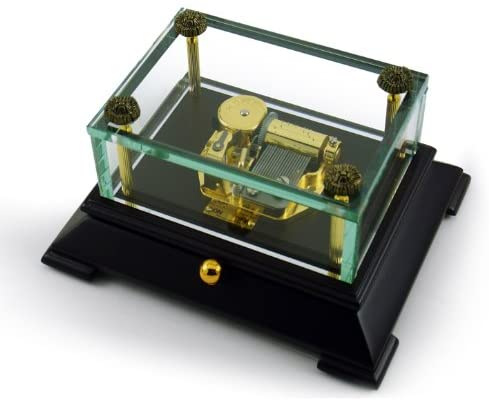 Exclusive Crystal Music Box W. Contemporary Wooden Base Overstock Price - Many Songs to Choose - Lord's PrayerThe (Albert Hay Malotte)