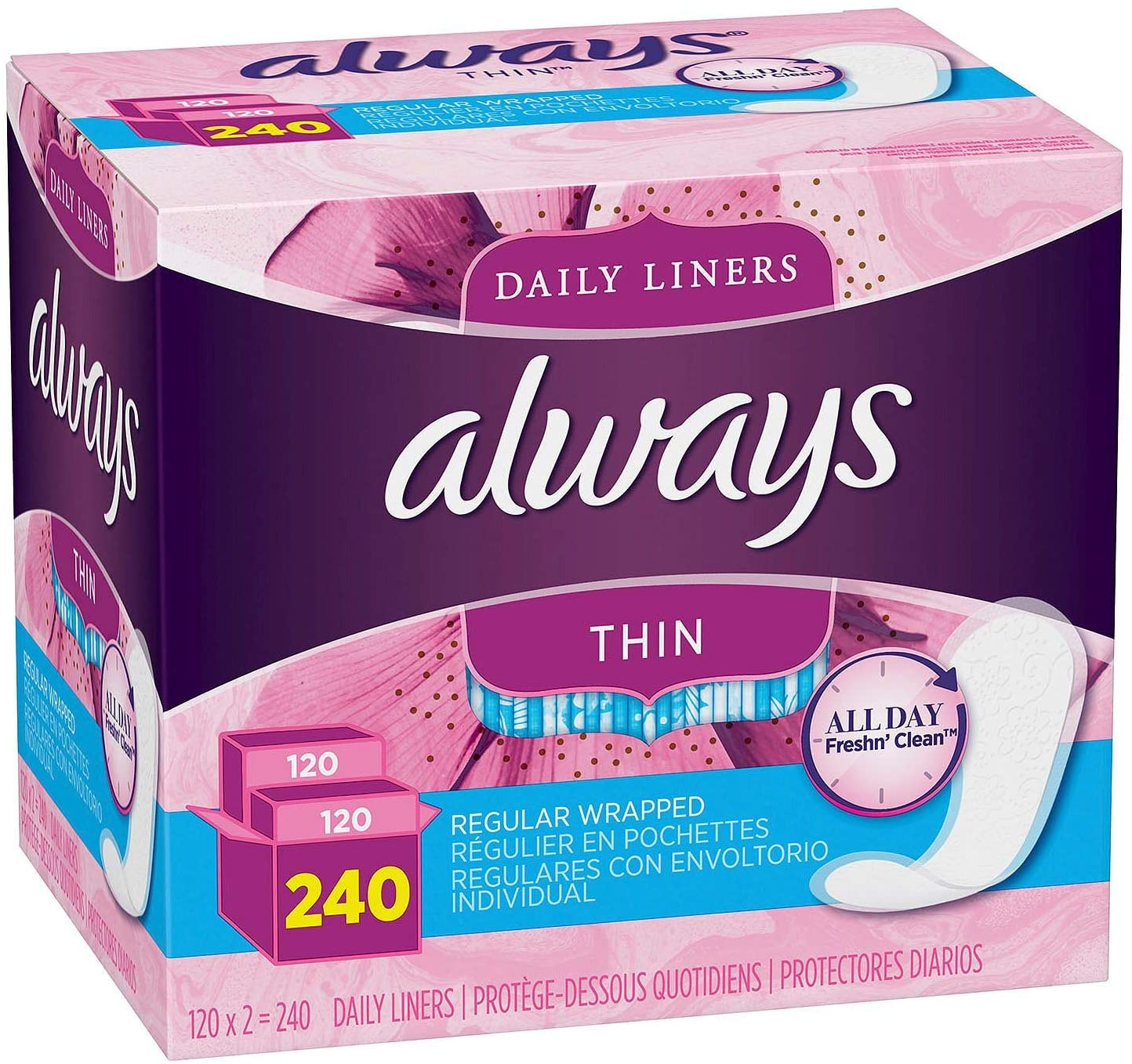 Always Thin Daily Liners, Regular Absorbency, Unscented, Wrapped, 240 Count Pack of 2,(480 Count Total)