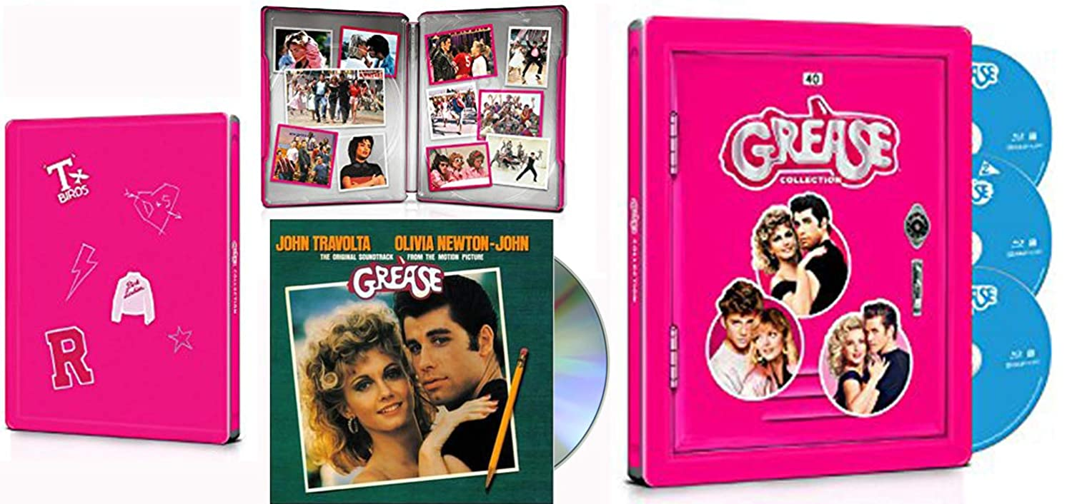 1&2 Live Steelbook edition of Grease with Music Soundtrack Movie / Sequel & Broadcast Edition Triple Double Feature Blu-Ray Extras Favorites John Travolta Musical 40th Anniversary Collection