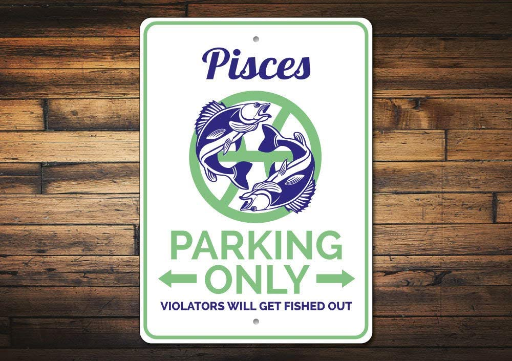 Promini Metal Sign for Wall Decor,Pisces Gift, Pisces Parking Sign, Pisces Decor, Pisces Sign, Astrology Gift, Astrology Sign, Astrology Decor, Quality Aluminum Custom Sign 12x18 Inches