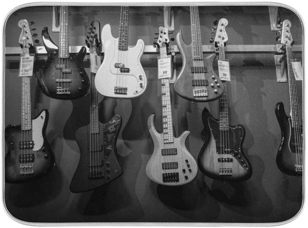 18x24 Inch XL Absorbent Microfiber DishDryingMatsforKitchenCounter Sinks with Hanging Loop - Black And White Bass Guitars Acoustics