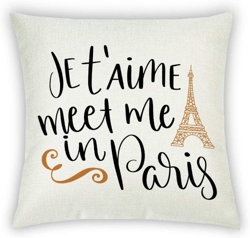 BYRON HOYLE Je TAime Meet Me in Paris Decorative Cotton Linen Pillowcase Inspirational Quote Love Throw Pillow Cover 18x18 Inch Outdoor Cushion Cover Home for Couch Sofa