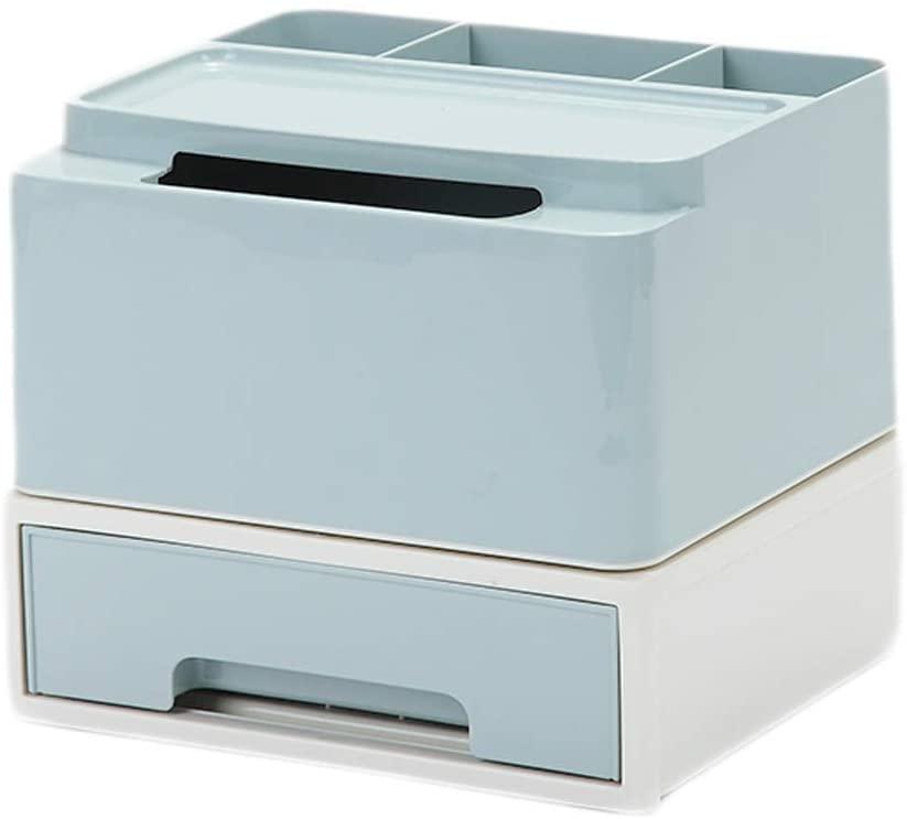 Cosmetic Storage Box Dressing Table Desktop Lipstick Skin Care Products Finishing Box Tissue Box, T-L, Blue