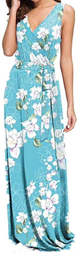 LENXH Women's Sleeveless Skirt Floral Print Dress Fashion Casual Dress Elegant Long Skirt Beach Skirt