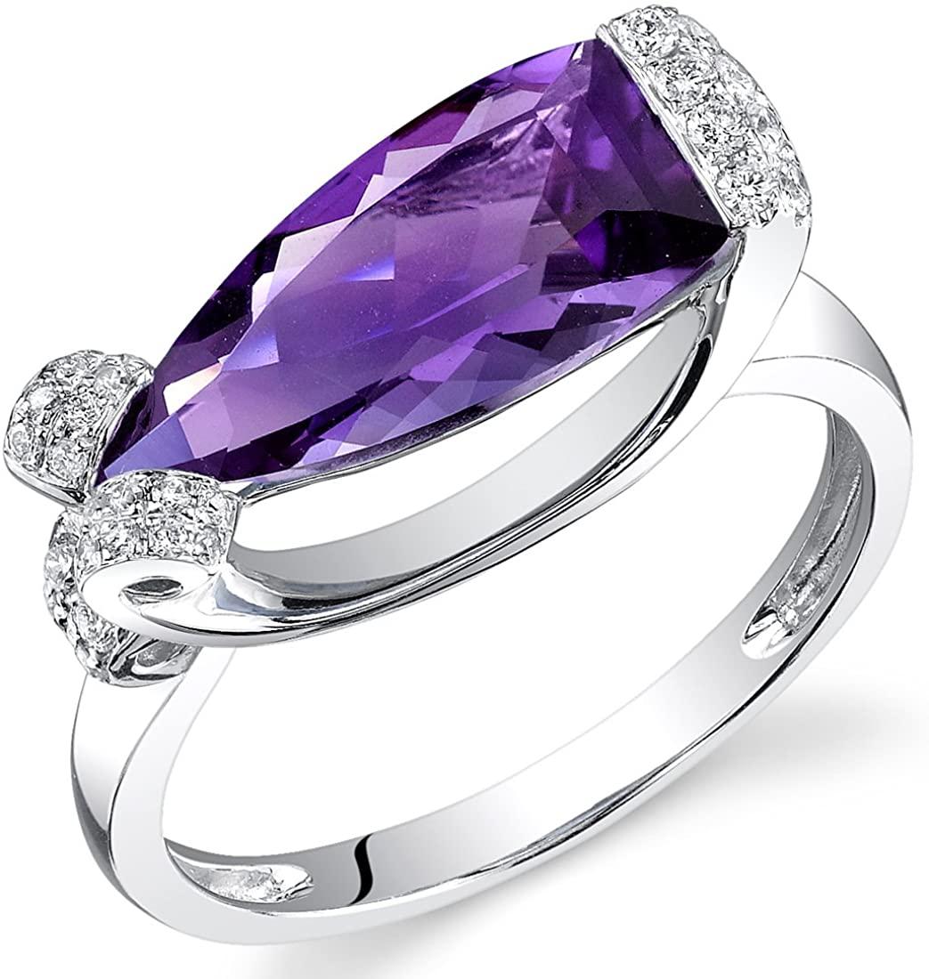 14 Karat White Gold Half Marquise Cut 2.55 carats Amethyst Diamond Ring