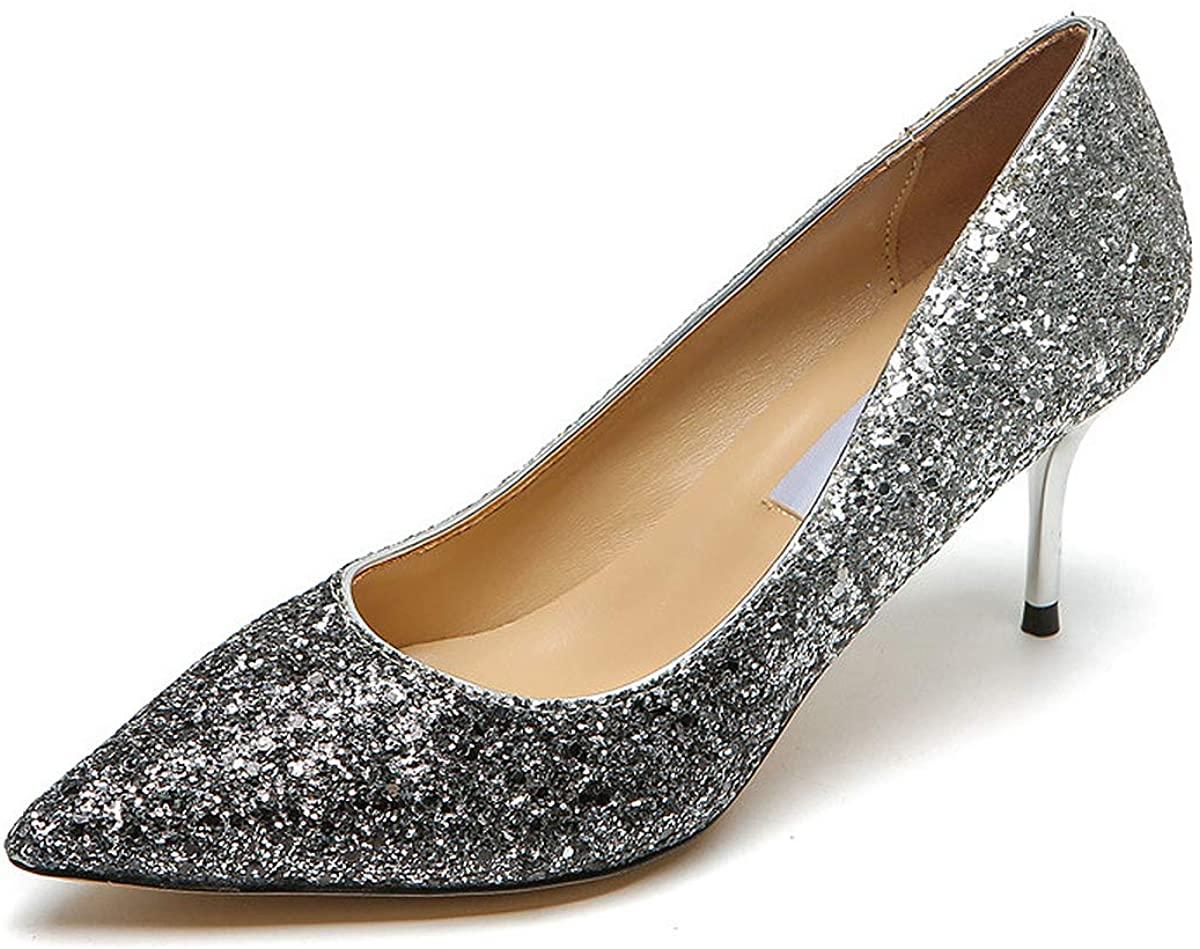 La Rosa Sequins Mid Heel Pump Shoes (SilverGradient US 6)